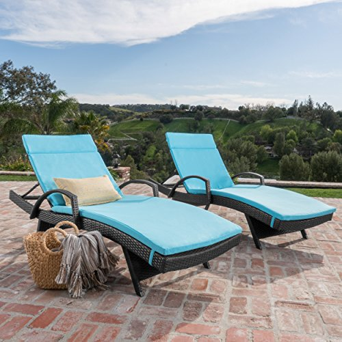 Olivia Patio Furniturre ~ Outdoor Wicker Chaise Lounge Chair with Arms w/ Water Resistant Cushions (Set of 2) (Grey with Blue)