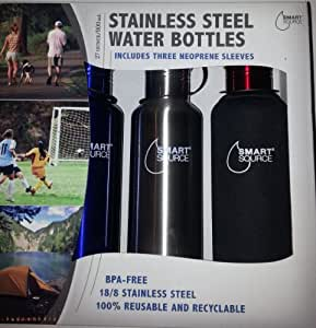 Smart Source Stainless Steel Water Bottles - w/3 Neoprene Sleeves