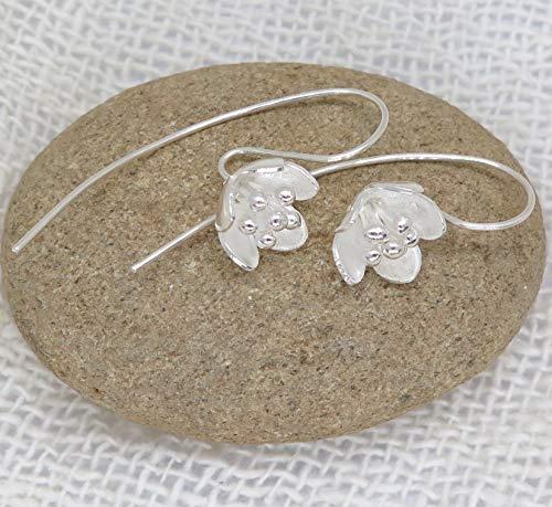 Handmade Sterling Silver Dainty Flower Earrings, Elegant Boho Long stem Bell Flower White Silver Earrings, gift for her