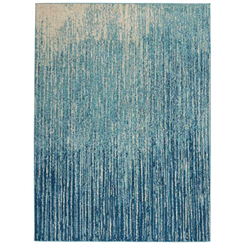 - Nourison PSN09 Passion Modern Abstract Navy/Light Blue Area Rug (7' x 10'), 6'7