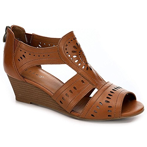 Wedge Peep Toe Flats Shoes (Pesaro Womens Margaret Peep Toe Wedge Sandal Shoes, Cognac, US 6.5)