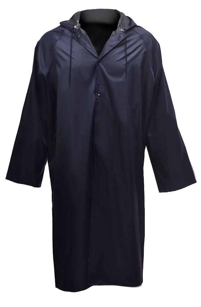 Cheering Long Rain Coat Windbreaker Rain Jacket Mens Medium Navy by Cheering (Image #3)
