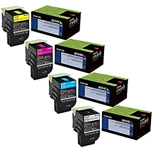 Lexmark 80C1HC0, 80C1HK0, 80C1HM0, 80C1HY0 High Yield Toner Cartridge Set