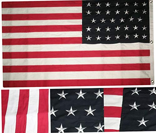 Hebel 3x5 Embroidered Sewn 34 Star Linear Great Union USA 100% Cotton Flag 3x5 Clips | Model FLG - 1409