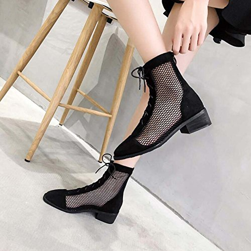 Heel Zapatos Chunkly OL Mesh Ankel Roma Onfly Court Round Comforty Dress Laceup Eu Splitter 34 4cm Tamaño Boots Mujeres Boots Shoes Negro 40 Toe Cool Shoes Net qnHtI