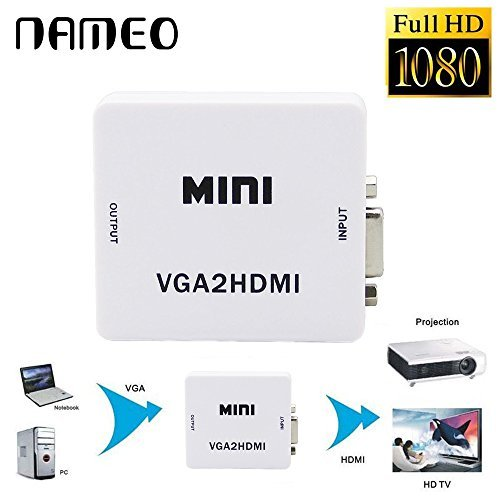 LONGYAO VGA To HDMI, Mini HD 1080P 3 5mm Audio VGA To HDMI HD HDTV Video  Converter Box Adapter VGA2HDMI for PC Laptop Dispaly Projector