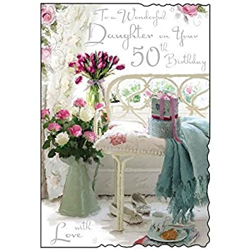 To a wonderful daughter on your 50th birthday card floral design to a wonderful daughter on your 50th birthday card floral design jj bookmarktalkfo Images