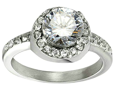 adisaer bague acier inoxydable femme bague de fiancaille diamant cristal zircon forme ronde. Black Bedroom Furniture Sets. Home Design Ideas