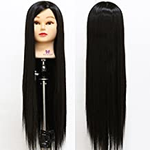 """Neverland Beauty 26"""" Long Smooth 100% Synthetic Black Hair Hairdressing Equipment Styling Head Doll Mannequin Training Head Tools Braiding Cutting Student Practice Model with Clamp"""