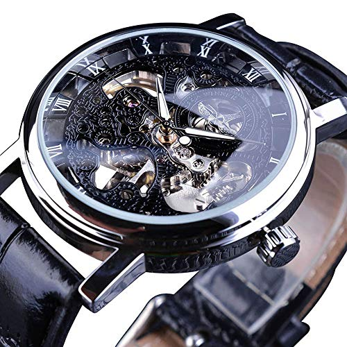 Transparent Watch Gold (Winner Transparent Case Luxury Gold Watch for Men Brown Leather Strap Hand-Wind Skeleton Mechanical Watch Casual Fashion)