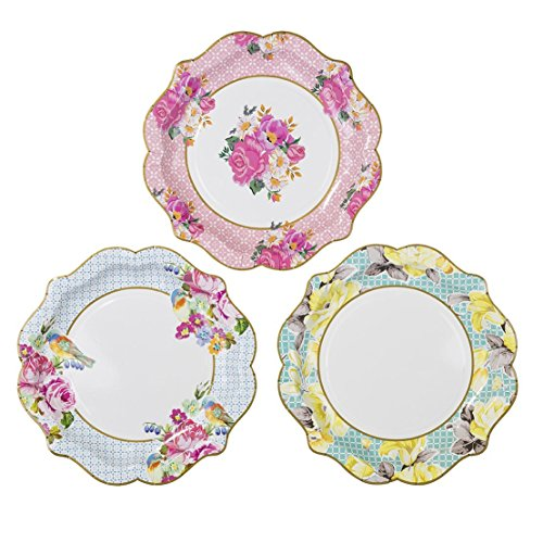 Talking Tables Truly Scrumptious Floral Plates for a Tea Party, Wedding, Multicolor (24 Pack) (Tea Cupcakes Party)