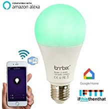 Wifi Smart Led Light bulb,Compatible With Alexa Google Home IFTTT Smart Home Automation Dimmable Warm White E26/E27 light bulb 9W(60W Equivalent) A19 RGBW Color Changing Mood Light