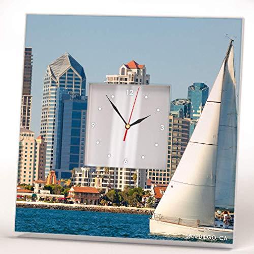 Skyline Panoramic Downtown San Diego California Wall Clock Framed Mirror Decor Art Home Design Gift