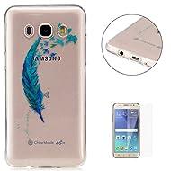 Coque Samsung Galaxy J5 2016/J510FN Transparent Gel de silicone TPU Couvrir [avec Gratuit Protecteur d'écran] KaseHom Flexible TPUGel Protecteur Peau Absorption des chocsLa technologieAnti-rayures Caoutchouc Pare-chocs coloré ÉlégantModèle Imprimé ConceptionVoir à travers Cristal Clair Silicone Couverture pour Samsung Galaxy J5 2016/J510FN-Plume Oiseau