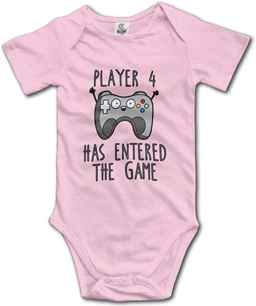 RuiShuoPiCao Unisex Funny Baby Player 4 Has Entered The Game Short Sleeve Baby Bodysuits 100/% Cotton Infant Baby Clothes Size