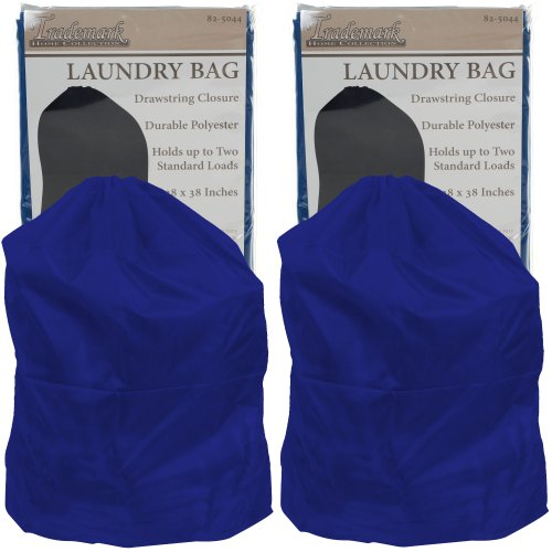 Set of 2 Heavy Duty Jumbo Sized Nylon Laundry Bag - Blue - 8