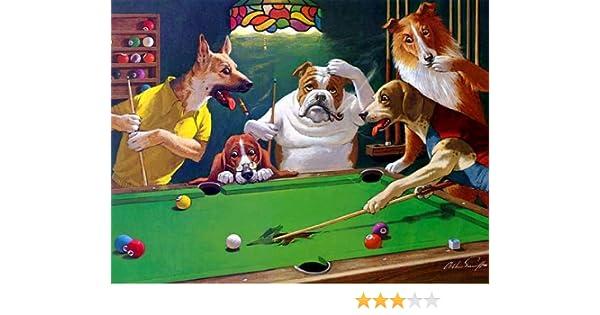 Jack el destripador - diseño de perritos jugando de billar - 30,48 cm x 40,64 cm lienzo sobre marco de madera sobre bastidor: Amazon.es: Hogar