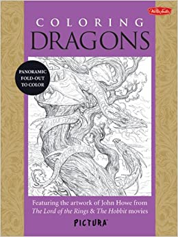 coloring dragons featuring the artwork of john howe from the lord of the rings the hobbit movies picturatm - Lord Of The Rings Coloring Book