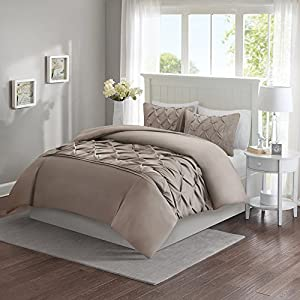 Comfort Spaces - Cavoy Duvet Mini Set - 3 Piece - Taupe - Tufted Pattern - Full/Queen size, includes 1 Duvet Cover, 2 Shams