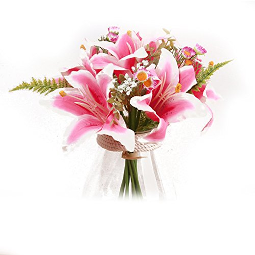 MuLuo Lily Bouquets Holding flowers 11 Stem Stargazer Lily Bunch Multi Color No Vase lightpink