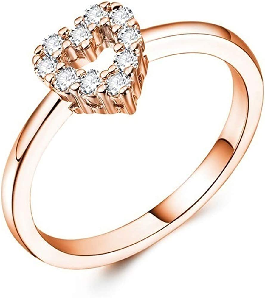 skoqjFQSen Boutique Accessory Gift Rings Hollow Heart Cubic Zirconia Wedding Engagement Valentines Bridal Ring Jewelry Silver US 9