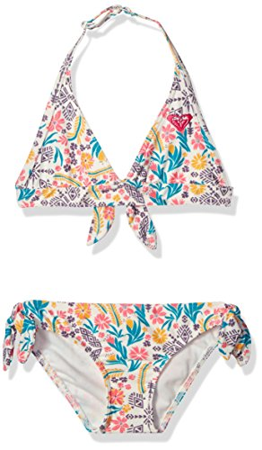 Roxy Little Girls' Caravane Beauty Halter Swimsuit Set, Marshmallow Flower Power, 6