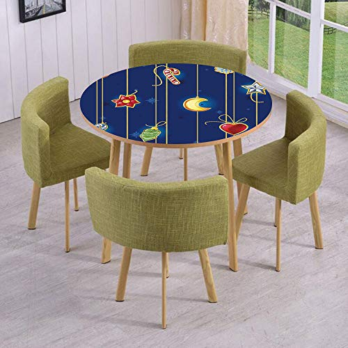 iPrint Round Table/Wall/Floor Decal Strikers/Removable/Cute Celebratory Object on Stripes Star Moon Candy Flower Xmas Theme Illustration/for Living Room/Kitchens/Office Decoration ()