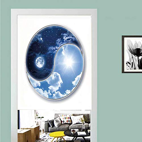 3D printed Magic Stickers Door Curtain,Apartment Decor,Yin Yang World with Moon and Sun Harmony of the Universe Art,Navy Blue Sky Blue White ,Privacy Protect for Kitchen,Bathroom,Bedroom(1 Panel)