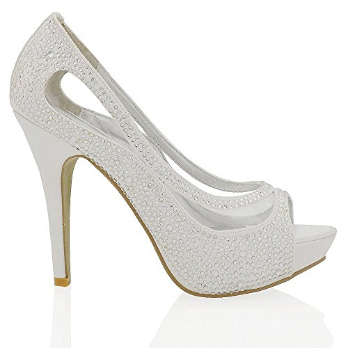 atform High Heel Peep Toe White Satin Diamante Bridal Prom Shoes 8 B(M) US (High Heel 1.2 Inch Platform)