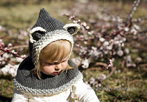 Rustic Raccoon Hooded Cowl Knit Pattern Sizes Newborn Baby