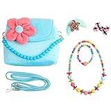 Slowera Little Girl Beauty Set Plush Handbag 2 Hair Clips Necklace and Bracelet (Blue)