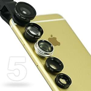 First2savvv JJTSJ-5N1-01 - Pack de lentes para Nokia Lumia 925 (ojo de pez, gran angular, polarizador, macro y barlow), negro