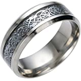 BEE&BLUE ドラゴンデザイン指輪 メンズ ステンレス チタンリング チタン指輪 平打ち リング 龍紋 竜ザイン アクセサリー