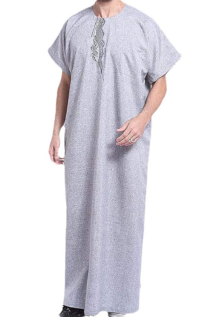 Unastar Men Short Sleve Relaxed Thawb Muslim Solid Shirt Blouse Tops