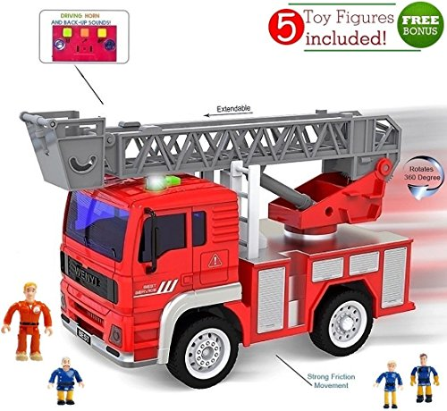 Fireman Truck (Toy Fire Truck with Lights and Sounds - Extendable Ladder -Powerful Friction Wheels - Mini Firetruck Toy for Toddlers and young Kids- BONUS: 5 Fireman and Toy Figures)