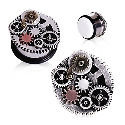 Steampunk Gear Ear Plugs O Ring Gauges - 7 Sizes Available (2GA-3/4