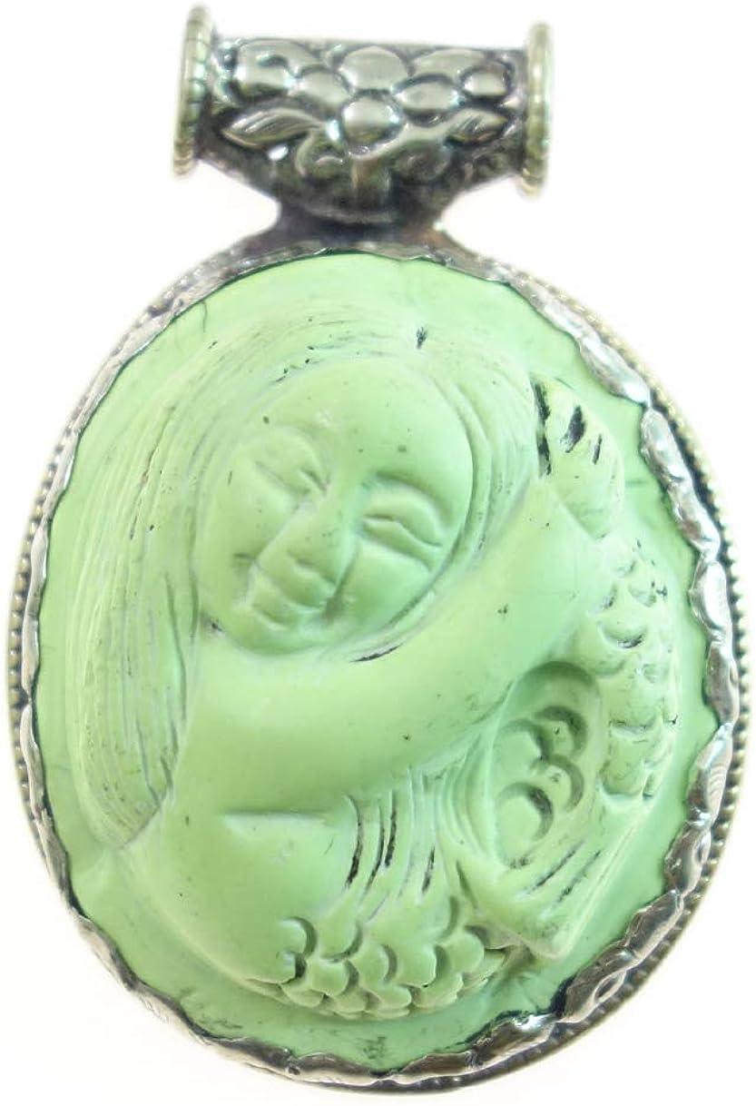 Sirena Grabado Colgante Natural Jade Piedras Preciosas Para Mujeres, Real Tibetano Étnico Moderno Diseñador Moda Chapado En Plata Bohemio Boho Fiesta Amuleto Joyería Hecha A Mano Por Artesanos