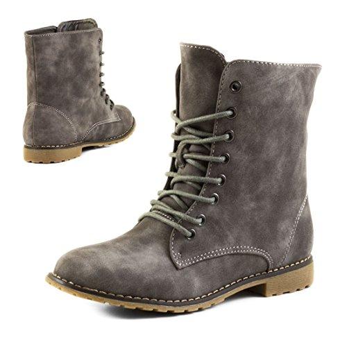 In Hochwertiger Boots Mit Strass Lederoptik Reißverschluss Schnür Damen Gefüttert Grau Basic Und Stiefeletten Worker UHwx8M6zq