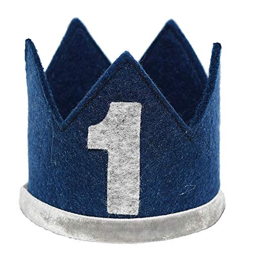 Maticr Classic Felt 1st Birthday Crown Hat Baby Boy Number 1 Headbands Prince Princess Cake Smash Photo Prop (Navy Blue, Medium) (Best Dog Birthday Cake)