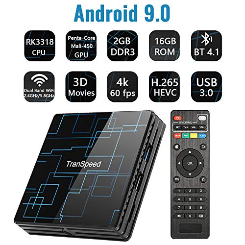 Android TV Box 9.0 2GB RAM 16GB ROM Smart TV Box Set Top Box RK3318 USB 3.0 Ultra HD/4K/HDR Dual Band WiFi 2.4GHz&5.8GHz BT 4.1 Streaming Media Player-TR99 Mini+ 2G+16G