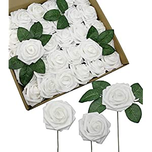 D-Seven Artificial Roses Flowers 30PCS Real Looking Fake Roses with Stem for DIY Wedding Bouquets Centerpieces Party Baby Shower Home Decorations(White) 69