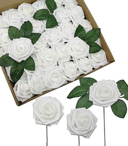 D-Seven Artificial Roses Flowers 30PCS Real Looking Fake Roses with Stem for DIY Wedding Bouquets Centerpieces Party Baby Shower Home Decorations(White)]()