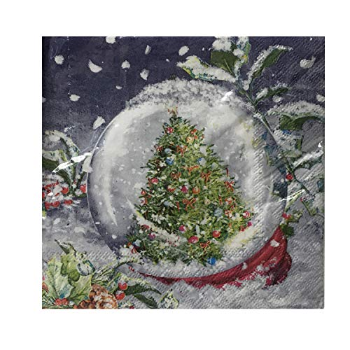 Christmas Holiday Luncheon Paper Napkins 40 ct Disposable Party Supplies (Tree in Snowglobe)