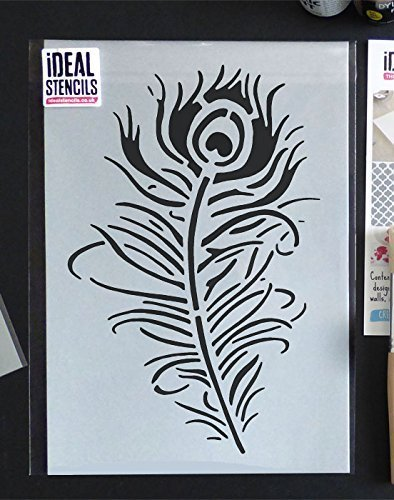 Ideal Stencils Peacock Feather stencil, floating feather, home ...