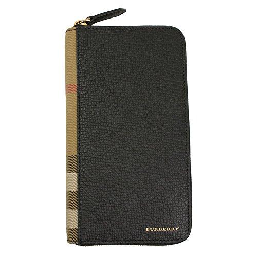 - Burberry Uni Black Leather Zip Around Wallet