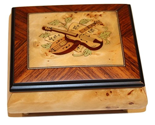 Birdseye Maple Matte finish Instrument Design Italian inlaid musical jewelry box with customizable tune options