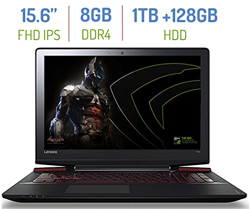 "Lenovo ideaPad Y700 15.6"" Anti-Glare FHD (1920x1080) IPS Gaming Laptop PC, Intel Quad Core i5-6300HQ 2.3GHz, 8GB DDR4, 1TB HDD + 128GB SSD, NVIDIA GeForce GTX 960M GDDR5 4GB, Windows 10"