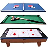 allgoodsdelight365 3 in 1 Air Hockey Ping Pong Billiard Multifunctional Table