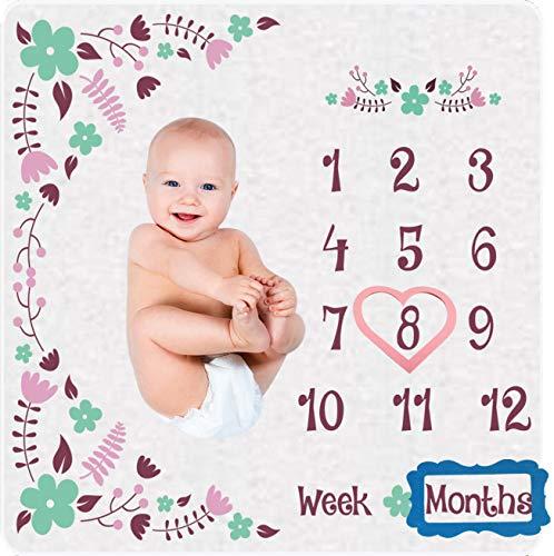 Ladybirds Baby Monthly Milestone Blanket Girls - Super Soft 300gm Organic Fleece Double Sided Monthly Baby Milestone Blanket.