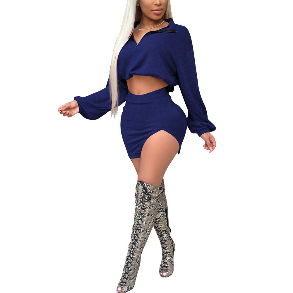 bluee JiherBeauty Womens Sexy 2 Piece Outfits V Neck Long Sleeve Mini Dress Crop Top Split Skirt Set